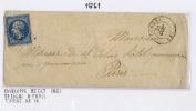 France Lettre 1861,  Nr 14 De Logni A Paris, Losange PC 1754, Petit Cachet A Date