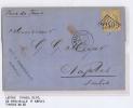 France Lettre 1872,  Nr 38  De  Marseille A Napels Italy, Etoile  Et Cachet A Date, PD Rouge