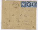 France Lettre 187?,  Nr 60  De  Lucay-le-Male (RRR),  Bande De 3, Cachet A Date, Rouge H, Seulement L´avant