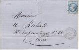4599# Y&T N° 29 LAURE / LETTRE Obl GC 3440 SORGUES S L' OUVEZE 1868 VAUCLUSE Pour PARIS - Marcophilie (Lettres)