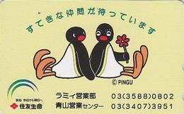 TC Japon / 110-187574 - Oiseau MANCHOT - PINGU - PENGUIN Bird Rare Japan Phonecard - PENGUIN / Versicherung Assu - 2043 - Comics