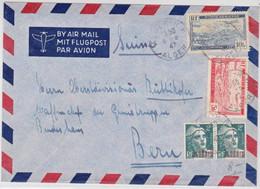 ALGERIE - 1947 - ENVELOPPE De ALGER Pour BERN (SUISSE) - POSTE AERIENNE + MARIANNE De GANDON - Lettres & Documents