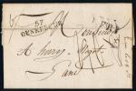 France Lettre 1827, Cachet 57 Dunkerque A Gand / Gent Belgique, A Verso Cachet FRANKRIJK OVER KNOKKE - Storia Postale