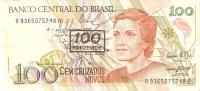 BILLETE DE BRASIL DE 100 CRUZADOS NOVOS  (BANK NOTE) RESELLO 100 CRUZEIROS - Brazil