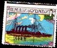 Vignette DELANDRE - England HMAS SYDNEY - 1914 - 1918 WWI WW1 Cinderella Poster Stamps Seals France - Cinderellas