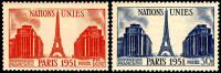 911  912  NATIONS UNIES 18F ET 30F  1951 - Ongebruikt