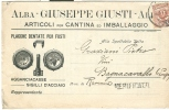 GIUSTI - ALBA - CARTOLINA COMMERCIALE  PRESENTAZIONE PRODOTTI - VIAGGIATA  1911  VERIFICATO PER CENSURA - Cuneo
