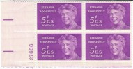 #1236 4Plate Number Block Of 4, 5-cent Commemorative Stamps Eleanor Roosevelt FDR First Lady US President-related - United States