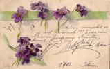 AK FLORA BLUME VEILCHEN  Stitched Mit Seide OLD POSTCARD 1900 - Ansichtskarten