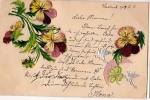 AK FLORA BLUME STIEFMÜTTERCHEN  Stitched Mit Seide  MIT SILBER SCHWEINE OLD POSTCARD 1901 - Ansichtskarten