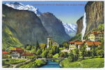Switserland, Lauterbrunnen Mit Staubach Und Jungfrau, Mit Luftpost Nach New York - Zwitserland