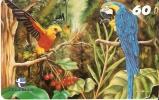 TARJETA DE BRASIL DE DOS PAPAGAYOS  (PARROT-LORO-BIRD-PAJARO) - Loros