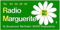 Autocollant / Sticker / Aufkleber - Radio Marguerite  99.9 Mhz Angoulême (vers 1985) - Pegatinas