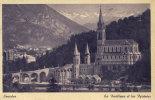 LOURDES - La Basilique Et Les Pyrénées ( Ton Bleu Violet )    (1033) - Lourdes