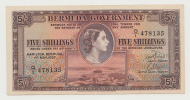 BRITISH BERMUDA 5 SHILLINGS 1957 AUNC+ P 18b - Bermudas