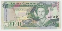 """EAST CARIBBEAN ST. VINCENT """"""""V"""""""" 5 Dollars 1993 UNC NEUF P 26V  26 V - Caraïbes Orientales"""
