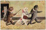 07864g L. BEHRONLER - CHAT - Elèves - Cartable - 1912 - Illustratoren & Fotografen