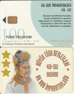 TURKEY(chip) - White Hun Empire 420 - 562 AD Founder AKSUVAR, Turk Telecom Telecard 100 Units, Chip CHT08, 10/00, Used - Turquie