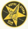ANCIENNE ETIQUETTE HOTEL - HOTEL STERN - ULM Sur Le Danube ( ALLEMAGNE) - Etiquettes D'hotels