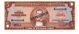 DOMINICAN REPUBLIC  ESPECIMEN 5 PESOS ORO ( 1976 ) - Dominicaine