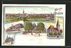 Lithographie Uelzen, Gesamtansicht, Bahnhof, Fischerhof - Deutschland