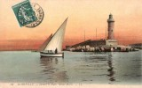 13 MARSEILLE DEVANT LE PHARE SAINTE MARIE ANIMEE VOILIER COLORISEE  VOYAGEE 1908 - Marseille