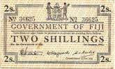 FIJI 2 SHILLINGS  PINKISH EMBLEM FRONT & INSCRIPTIONS BACK DATED 01-01-1942 F+ P.50a READ DESCRIPTION!! - Fidji