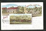 Lithographie Röllinghausen, Gastwirtschaft Zum Braunen Hirsch, Inh. Wilh. Aue, Garten V. W. Aue, Ortsansicht - Deutschland