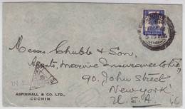 INDIA - 1941 - ENVELOPPE Avec CENSURE De COCHIN Pour NEW-YORK (USA) - Indien (...-1947)