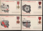 Poland Pologne, WWII Hero Cities, Military Decoration Cross Of Grunwald, 7 X Stationery 1971. - Seconda Guerra Mondiale
