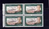 CANADA 1968, # 487i, JOHN McCREA: POEM, BLOCK OF 4 STAMPS - Blocs-feuillets