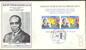 BRIEF MET BLOKJE BEZOEK LEOPOLD SEDAR SENGHOR  MET INHOUD - Corée (...-1945)