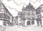 18621 KAYSERSBERG La Rue Principale Vue Par Maillard Dessin à La Plume . Maillard Coulaines 72190 - France