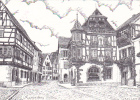 18621 KAYSERSBERG La Rue Principale Vue Par Maillard Dessin à La Plume . Maillard Coulaines 72190