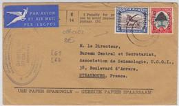 AFRIQUE DU SUD - 1956 - ENVELOPPE De SERVICE O.H.M.S Avec TIMBRE OFFICIEL Par AVION Pour STRASBOURG - Briefe U. Dokumente