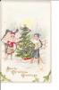 Embossed Christmas Greetings Boy Child Girl Christmas Tree Sled Glitter - Noël