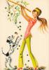 18647 Dessin Femme Année 1970 . Recolte Olive Chien -coupe D´or Du Bon Gout Glacée 50930 - Non Signée - Femmes