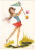 18649 Dessin Femme Année 1970 . Chasse Aux Papilons -coupe D´or Du Bon Gout Glacée 50889 - Signée CF - Femmes