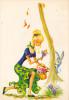 18652 Dessin Femme Année 1970 . Crocus Lapin Ramassage Fleurs-coupe D´or Du Bon Gout Glacée 50930 - Signée CF