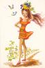 18653 Dessin Femme Année 1970 .vendanges Vigne Raisin -coupe D´or Du Bon Gout Glacée 50889 - Signée CF