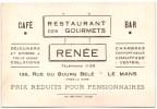 CARTE PUBLICITAIRE LE MANS CAFE RESTAURANT DES GOURMETS RENEE - Visiting Cards