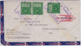 VENEZUELA - 1949 - TIMBRE FISCAL Avec UTILISATION POSTALE Sur ENVELOPPE Par AVION De CARACAS Pour Les USA - Venezuela