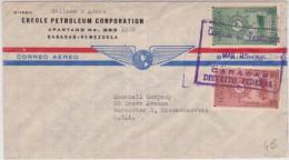VENEZUELA - 1950 - ENVELOPPE COMMERCIALE (PETROLE) Par AVION De CARACAS à WORCESTER (USA)  - POSTE AERIENNE - Venezuela