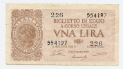 1 Lira Luogotenenza 1944 (ventura-simoneschi-giovi Nco) - [ 1] …-1946 : Koninkrijk
