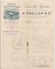 VINS ET SPIRITUEUX - -Facture Tête De Lettre -1892 2 Couleurs- VERMOUTH Supérieur TAILLANT Et Compagnie - - 1800 – 1899