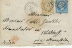 "De Strasbourg Pour Mannheim Via Heidelberg Tarif Frontalier 30c ""PD"" Au Verso ""Frankreich über Bade"" Timbres 21.22  1866 - Marcophilie (Lettres)"