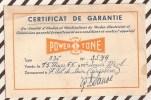 U182 CERTIFICAT DE GARANTIE POWER TONE  1955 2 SCANS - Vieux Papiers