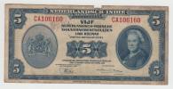 Netherlands Indies 5 Gulden 1943 Banknote P 113a 113 A - Nederlands-Indië