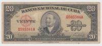 Cuba 20 Pesos 1949 VF+ P 80a  80 A (No PayPal For This Item) - Cuba