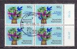 NATIONS  UNIES  VIENNE   1979/80   N°  1  BLOC DE 4    OBLITERE    CATALOGUE YVERT - Centre International De Vienne